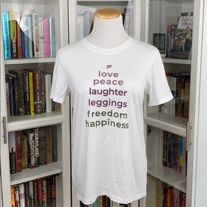 Fabletics Tops - Fabletics White Love Peace Laughter Crew Neck Tee